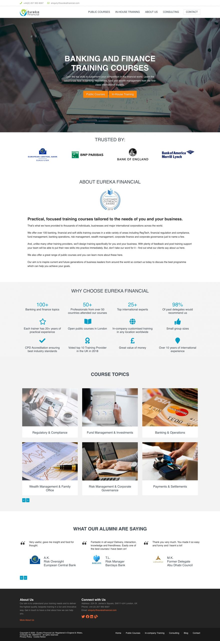 eureka financial wordpress website
